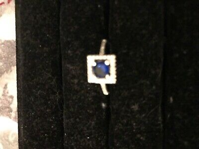 New Ladies Silver Coloured Ring Faux Diamonds And Sapphire Blue • 0.99£