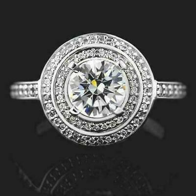 3 Ct Diamond Double Halo Engagement Bezel Ring 14K White Gold Wedding Bride Ring • 222.44£