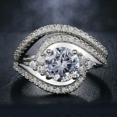 Bridal Ring Set Engagement & Wedding Ring 14K White Gold 2.68 Ct Round Diamond • 232.84£