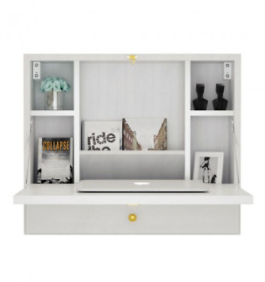 Multi-functional Wall Mounted Wooden Cabinet With Folding Drop Down Laptop Desk • 97.99£