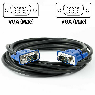 3m VGA Computer Monitor Cable 15 Pin Male To Male PC Laptop Screen Lead 3 Meter • 2.89£