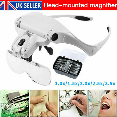 £12.90 • Buy Lightweight Magnifier Head Light 2 LED Adjustable Magnifying Glass With 5 Lens