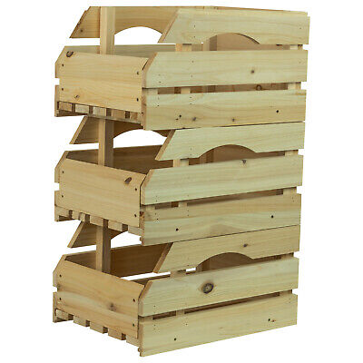 £22.99 • Buy Woodside Wooden Storage Boxes/Stackable Crates With Handles Fruit/Veg, Pack Of 3