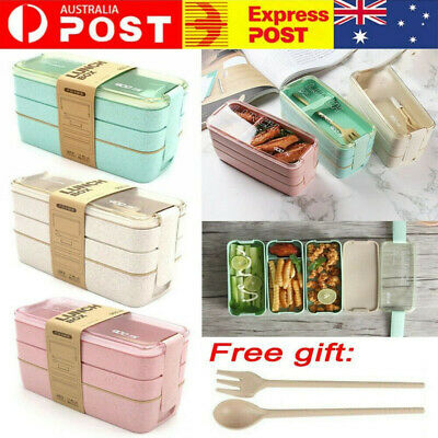 AU12.99 • Buy 3-Layer Bento Box Students Lunch Box Eco-Friendly Leakproof Food Container 900ML