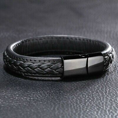 £5.79 • Buy Mens Leather Braided Bracelet Wristband Stainless Steel Clasp Jewellery Gifts YY