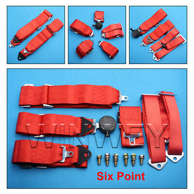 AU140.06 • Buy Universal Racing Harness Seat Belt - 3  Nylon 4/5/6 Point Fixing - Red