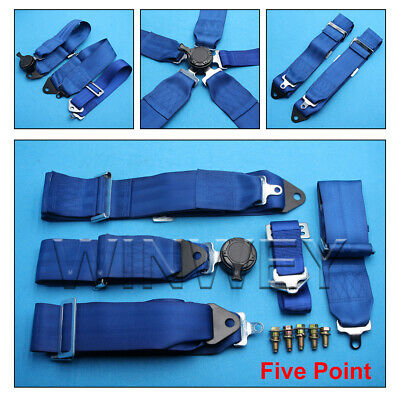 AU140.06 • Buy Sports Racing Harness Seat Belt 3  4 5 Point Fixing Quick Release Blue
