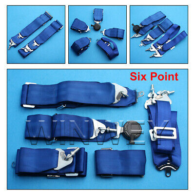 AU140.06 • Buy NEW! HIGH QUALITY 3  Inch 4 5 6 POINT QUICK RELEASE SEAT BELT HARNESS BLUE