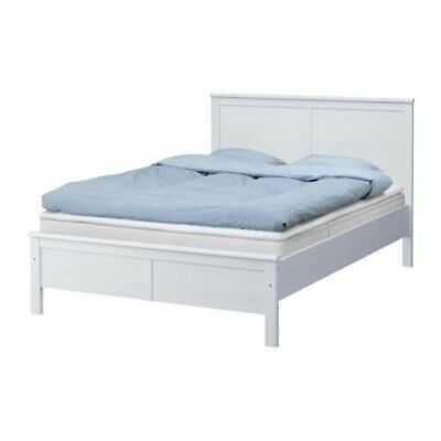 IKEA White Aspelund Double Bed With Mattress • 5£
