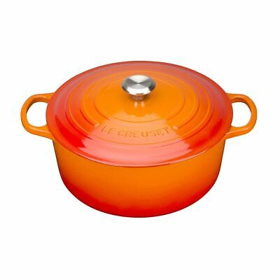 Le Creuset Iron Round Cast Casserole Volcanic Stainless Steel Knob Essential Hob • 356.92£