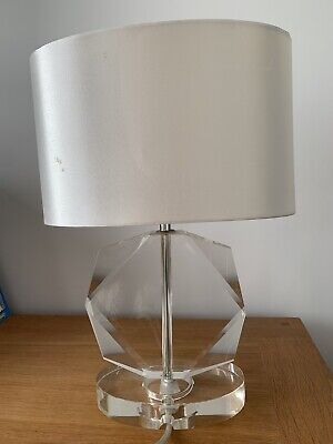 Pair Cut Glass Base Bed Side Lights With Off White Lampshades From John Lewis • 25£