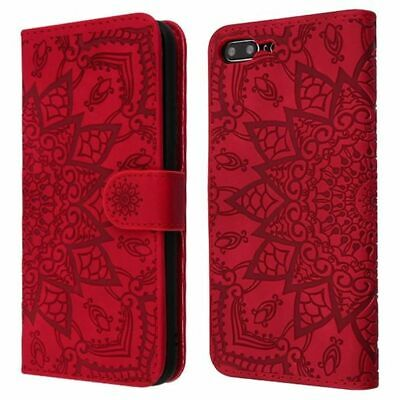 For Apple IPhone 7 Plus/8 Plus Red 3D Mandala Faux Leather Case W/stand • 6.19£