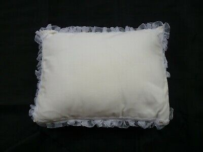 Small White Cushion, Cotton Cover With Lace Trim, 32cm X 24cm • 0.75£