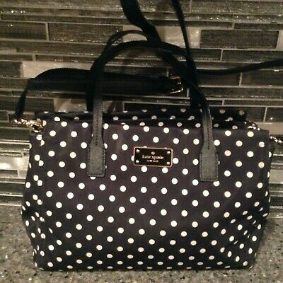 $ CDN12.64 • Buy Kate Spade New York Black Polk Dot Nylon Tote Satchel Handbag Shoulder Bag Purse