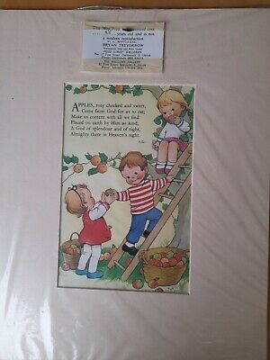 Mabel Lucy Attwell Print Certified 25 Years Old In The 90s. Apples Rosy Cheeked  • 9.99£