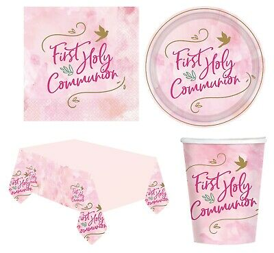 1st HOLY COMMUNION First PINK/GIRL Party Tableware Supplies Decorations (2021) • 2.45£