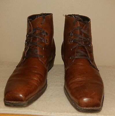 Mens Brown Leather Boots Pavers Size 10 / 9.5 Lace-up Eyelet Detail • 5.99£