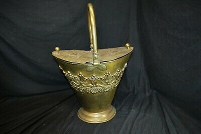 Rare Vintage 14  Embossed Brass Double Lidded Coal Scuttle With Handle -B • 143.37£