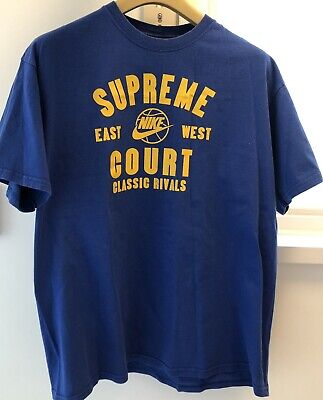 $ CDN12.61 • Buy Vintage Nike Supreme Court Blue T-Shirt Large '90s Authentic