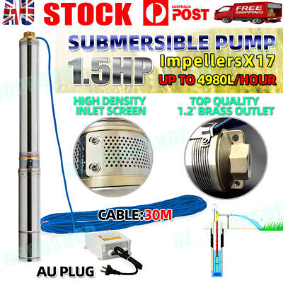 AU199.99 • Buy 1.5 HP Submersible Bore Water Pump Deep Well Irrigation Stainless Steel 1100W
