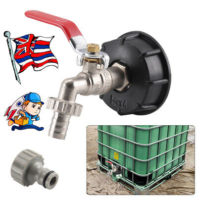 1x IBC Tank Cap Adapter With Brass Tap &1/2  Snap On Hose Connector Ton Valve • 9.75£