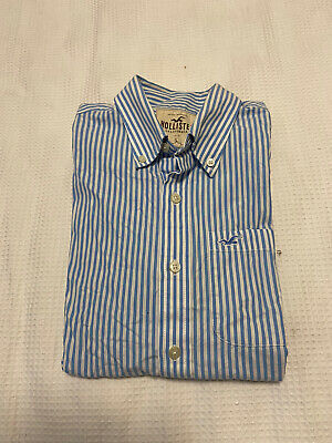 AU19.45 • Buy Hollister Mens Casual Blue-White Striped Button Up Long Sleeve Shirt ~ Size L