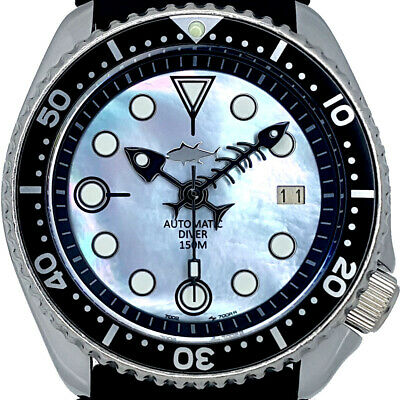 $ CDN42.30 • Buy Vintage Watch SEIKO Diver 7002 Mod W/Fishbone Set On Black Mother Of Pearl Dial