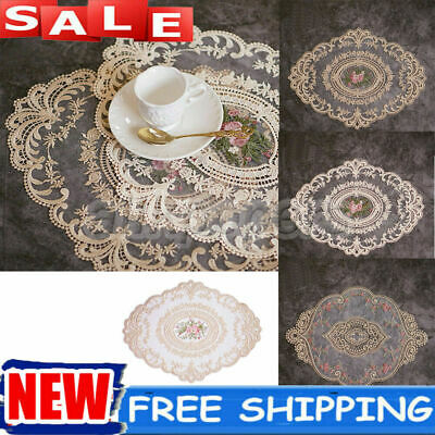 £2.99 • Buy Heat-resistant Lace Fabric Embroidery Placemats Dining Table Mats Pad Doilies