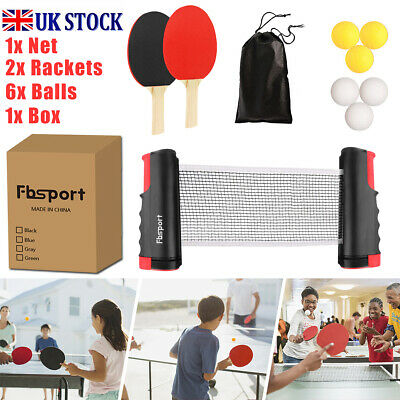 Table Tennis Kit Ping Pong Set Portable Retractable Net 2 Bats 6 Ping Pong Balls • 12.99£