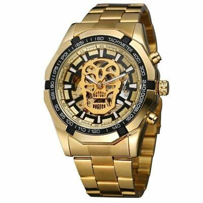 £18.98 • Buy Men's Skull Skeleton Automatic Mechanical Watches Stainless Steel Wrist Watch