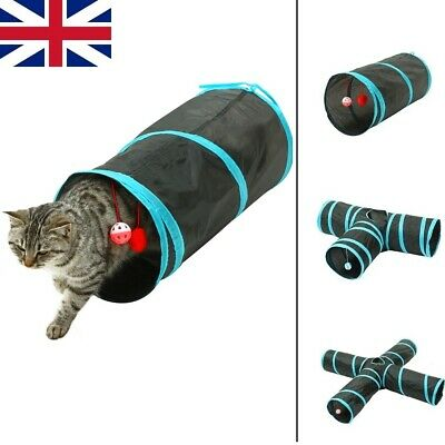 £8.99 • Buy Cat Tunnel Bed For Indoor Cats Pop UP Interactive Foldable Ball Activity Toys
