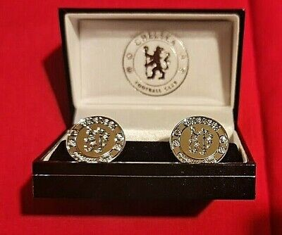 £17 • Buy Official Chelsea FC Silver Plated Round CUFFLINKS In A Gift Box