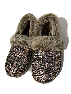 Skechers Plush Faux-Fur Metallic Slippers - Cozy Size 6 • 24.60£