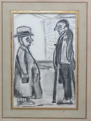 LS Lowry Pencil Drawing The Rent Collector & Beggar Modern British Portrait • 34£