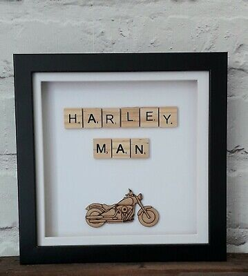 Box Frame Scrabble Words Picture (Harley Man) • 10£