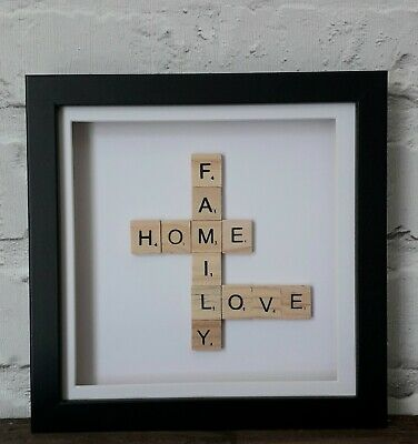 Box Frame Picture Scrabble Words (Family Home Love) • 10£