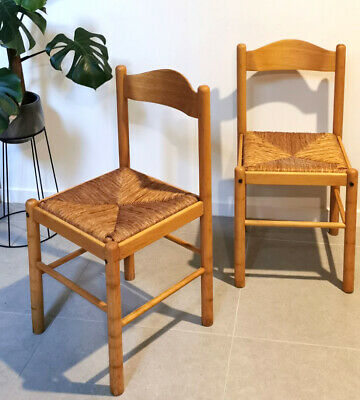 AU280 • Buy 2x Rush Seagrass Seat Mid Century Vintage Retro Dining Chairs