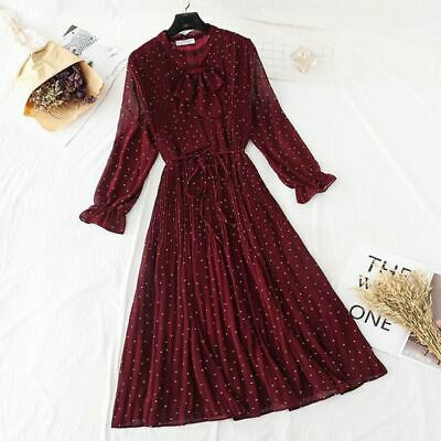 Polka Dot Elegant Women Dress Flare Sleeve Long Pleated Chiffon Vintage Dresses • 32.19£