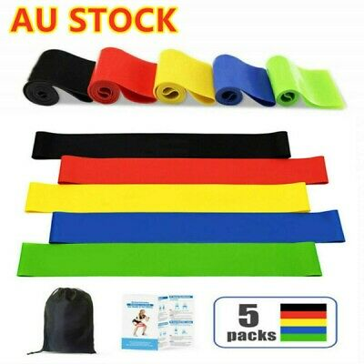AU13.99 • Buy 5pcs Set Resistance Bands Loop GYM Fitness Exercise Yoga Training Booty Band