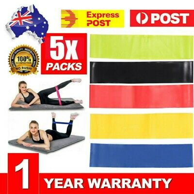 AU13.15 • Buy SET Of 5 Heavy Duty Resistance Yoga Bands Loop Exercise Fitness Workout Band Gym