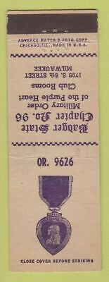 $3.99 • Buy Matchbook Cover - Military Order Of Purple Heart Milwaukee WI