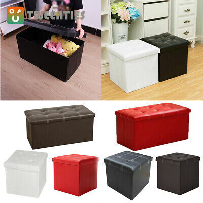 Faux Leather Ottoman Pouffe Large Storage Box Foot Stools 1&2 Seater Bench Seat • 12.89£