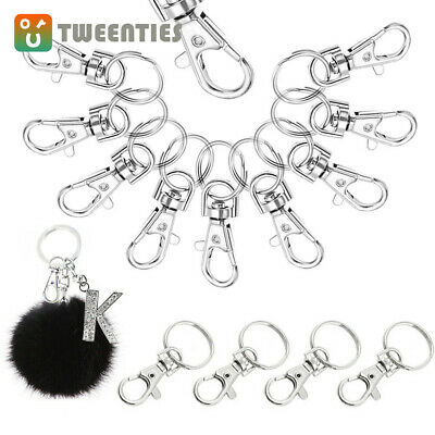 20Pcs 360° Swivel Trigger Snap Hooks Lobster Claw Clasp D Ring Keychain Findings
