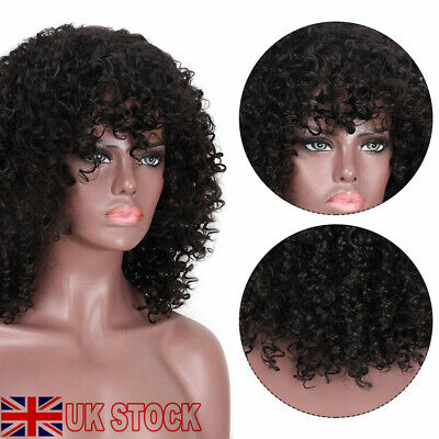 £18.09 • Buy Long Black Kinky Curly Synthetic Lace Front Wigs Natural Full Hair Glueless Wig
