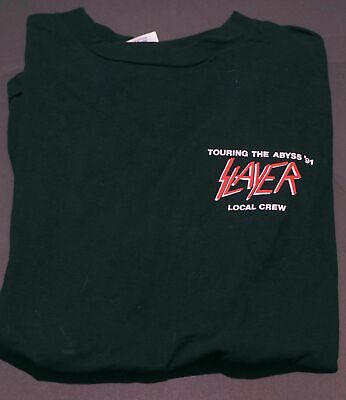 $ CDN23.04 • Buy Vintage 1991 Slayer Touring The Abyss Local Crew Shirt S-3XL
