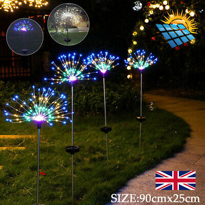 150LED Solar Power Firework Lights Lamp Starburst Stake Garden Path Outdoor • 10.29£