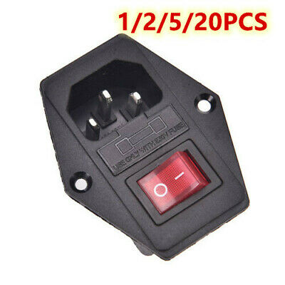 1/2/5/20X 3Pin Socket With Fuse Switch Inlet Male Power Socket 10A 250V IEC320 • 4.23£