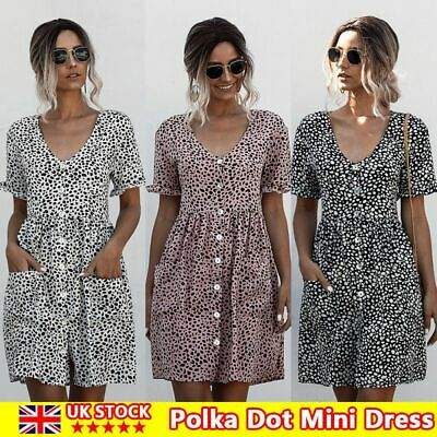 Women Casual V-neck Mini Dress Ladies Short Sleeve Dress Summer Beach Polka Dot • 3.68£