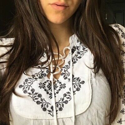 H&M White Frill Patterned Blouse With String Tie. Milkmaid Top. / UK 8 • 0.99£