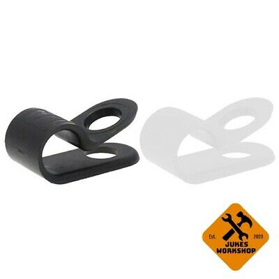 £9.99 • Buy High Quality Black & White Nylon Plastic P Clips - Fasteners For Cable & Tubing